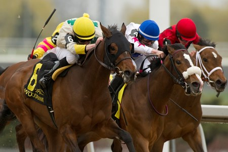 Jockey David Moran guides #6 Crumlin Spirit (white/yellow silks with green shamrocks) to victory in the $125,000 dollar Lady Angela Stakes at Woodbine Racetrack.