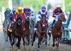 Danzing Candy (far left) sprints past Nyquist early in the Kentucky Derby (gr. I)