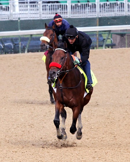 Nyquist (red shadow roll) in front of Suddenbreakingnews (white shadow roll) on the track at Churchill Downs on May 5, 2016.