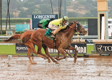 Tarabilla Farms' Home Run Kitten and jockey Joseph Talamo outside, overpower Little Curlin (Martin Pedroza), inside, to win the Grade III, $100,000 American Stakes, Friday, May 6, 2016 at Santa Anita Park, Arcadia CA.