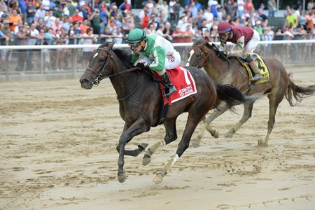 Bar of Gold wins the Critical Eye Stakes at Belmont park May 30, 2016