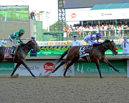 Nyquist with Mario Gutierrez wins the Kentucky Derby (gr. I)