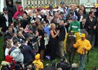 Exaggerator in the Preakness winner's circle