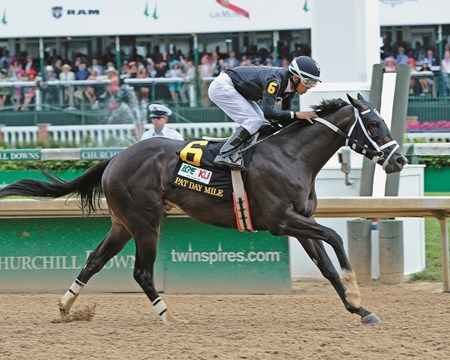 Sharp Azteca with Edgard Zayas wins the Pat Day Mile (gr. III) Kentucky Derby day at Churchill Downs on May 7, 2016, in Louisville, Ky.