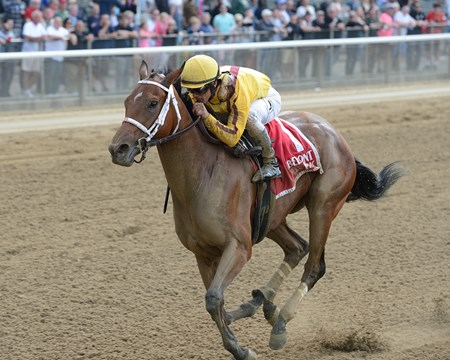 Cavorting wins the 2016 Ruffian Stakes.