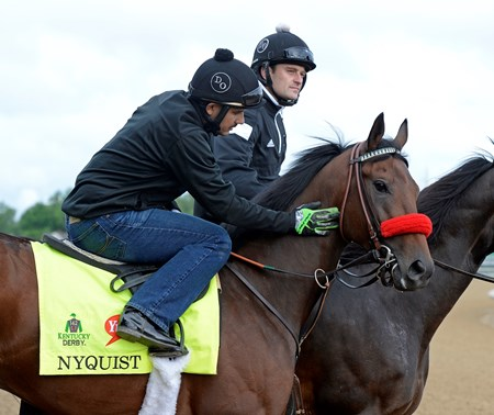 Nyquist with Jonny Garcia at Churchill Downs on May 5, 2016, in Louisville, Ky.