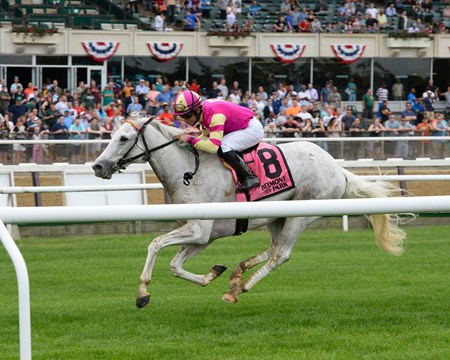 Tapitation wins the Kingston Stakes at Belmont Park May 30, 2016