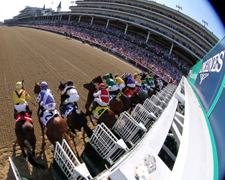 The start of the 142nd Running of the Kentucky Oaks at Churchill Downs on May 6, 2016.