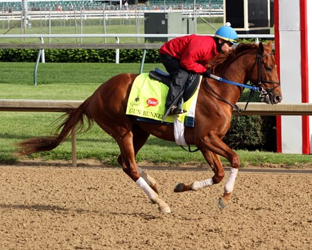 Gun Runner on the track at Churchill Downs on May 5, 2016.