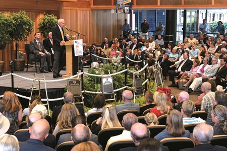 King Leatherbury captivates the audience with his humor during the National Museum and Hall of Fame inductions held at the Fasig Tipton sales pavilion Aug 7, 2015 in Saratoga Springs, N.Y.   Photo by Skip Dickstein