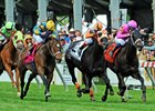 Ben's Cat (center) wins the Jim McKay Turf Sprint at Pimlico Race Course