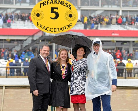 Exaggerator with Kent Desormeaux wins the Preakness Stakes (gr. I), Tom Ryan on right, Gavin Murray on left--stallion rights connection, SF Bloodstock Preakness week at Pimlico in Baltimore, Md., on May 21, 2016.