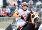 Ben's Cat, with Trevor McCarthy up, after winning the 2016 Jim McKay Turf Sprint at Pimlico