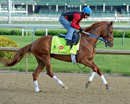 Gun Runner works at Churchill Downs on May 2, 2016, in Louisville, Ky.