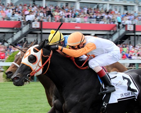 Ben's Cat (#2) with Trevor McCarthy win the 11th Running of The Jim McKay Turf Sprint at Pimlico on May 20, 2016 over Spring to the Sky.