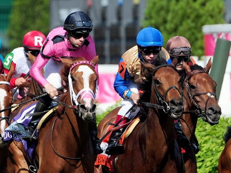 (May 6, 2016) Eventual winner Catch a Glimpse, (pink) Florent Geroux up, first time by the stands, in the GR.3 Edgewood at Churchill Downs.