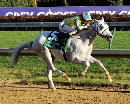 (November 5, 2011) Hansen (Gray) Ramon Dominguez up, holds off Union Rags (L) to win the Breeders Cup Juvenile.