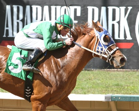 A J Marie wins the 2015 Ingrid Knotts Stakes Arapahoe Park      Please Give Photo Credit To:  / Coady Photography