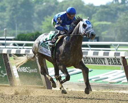 Frosted with jockey Joel Rosario wins the 123rd running of the Mohegan Sun Metropolitan at Belmont Park June 11, 2016 in Elmont, N.Y.