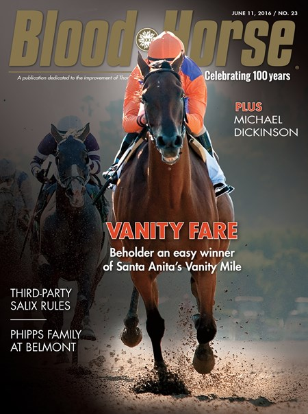 Blood-Horse cover, June 11 2016, issue number 23, Beholder; Gary Stevens; Vanity Mile Stakes; 2016; Santa Anita Park;