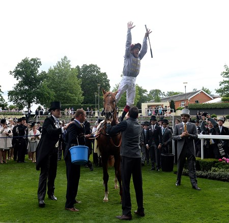 Frankie Dettori's famous flying dismount after winning aboard Galileo Gold at Royal Ascot June 14, 2016.