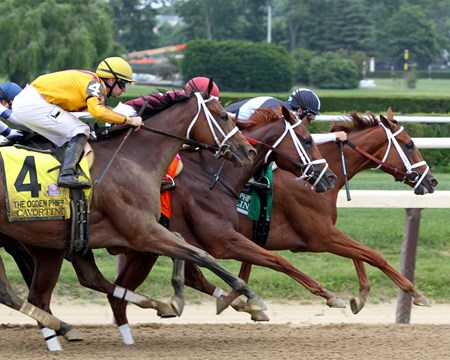 Cavorting (#4) with Florent Geroux win the 48th Running of the Ogden Phipps (GI) at Belmont Park on June 11, 2016