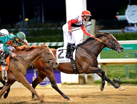 Bradester and Joe Bravo get the victory in the Stephen Foster Handicap