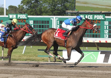 Chublicious, with Antonio Gallardo riding, won the Mr. Prospector Stakes at Monmouth Park in Oceanport, New Jersey on Sun. June 26, 2016.  Second was #3 Shaft Of Light with Jonathan Gonzales and third was Visionary Ruler #2 giving trainer Jorge Navarro a 1-2-3 sweep.