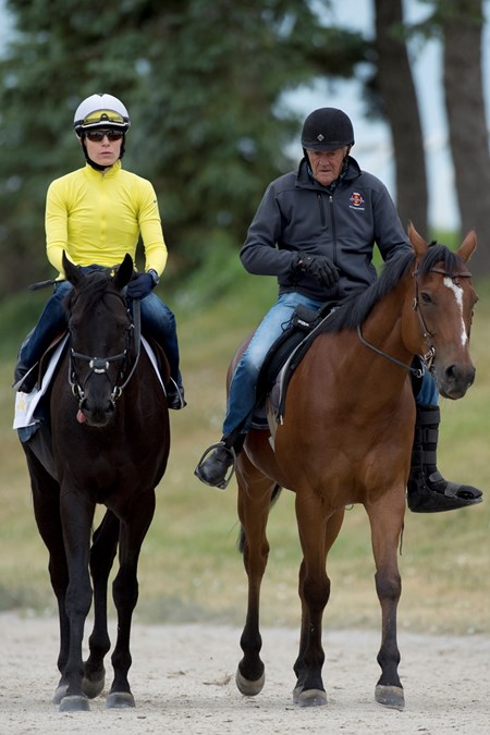 June 28, 2016 Queen's Plate contender Shakhimat with Jockey Emma-Jayne Wilson and trainer Roger Attfield.