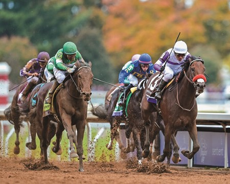 Nyquist and jockey Mario Gutierrez win the Breeders' Cup Sentient Jet Juvenile at Keeneland on October 31, 2015.