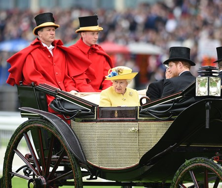 The Queen and Prince Harry at Royal Ascot June 14, 2016.