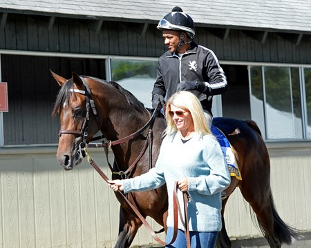 Julie Clark leads Exaggerator with Peedy Landry up back to the barn on June 10, 2016.