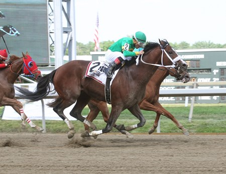 Encryption #2 ridden by Nik Juarez won the $100,000 Turning For Home Stakes on June 25, 2016 at Parx Racing Bensalem, Pennsylvania.