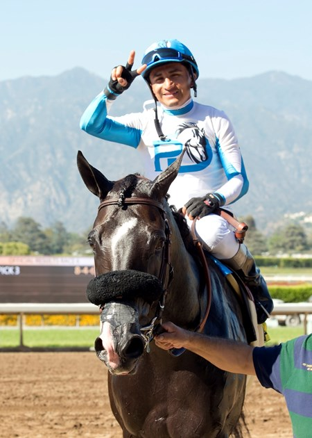 Midnight Storm and jockey Rafael Bejarano are guided into the winner's circle after their victory in the Grade I, Shoemaker Mile, Saturday, June 4, 2016 at Santa Anita Park, Arcadia CA.