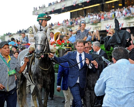 Bobby Flay leads in Creator Creator with Irad Ortiz Jr. wins the Belmont Stakes (gr. I). Training and schooling with Belmont Stakes contenders at Belmont Park in Elmont, New York on June 10, 2016.