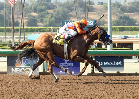 Spendthrift Farm's Lord Nelson and jockey Rafael Bejarano, outside win the Grade I Triple Bend Stakes Saturday, June 25, 2016 at Santa Anita Park, Arcadia, CA.