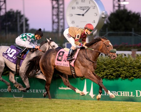 Pleuven with Channing Hill wins the Wise Dan (gr. II)  at Churchill Downs on June 18, 2016.