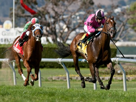 Alert Bay, with Russell Baze up, wins the Rolling Green Stakes at Golden Gate Fields Sept. 7, 2015.