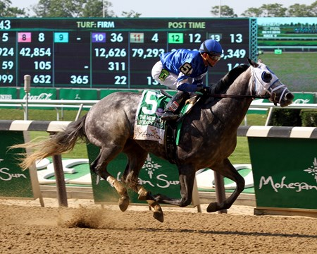 Frosted with Joel Rosario win the 123rd Running of The Metropolitan (GI) at Belmont Park on June 11, 2016.