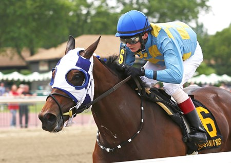 Disco Chick #6 with Trevor McCarthy riding won the $100,000 Foxy J G Stakes at Parx Racing in Bensalem, Pennsylvania on June 4, 2016.
