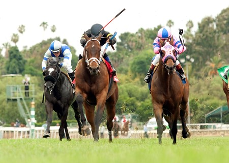 Poshsky and jockey Fernando Perez, outside, outleg Alert Bay (Tyler Baze), inside, to win the $100,000 Crystal Water Stakes.