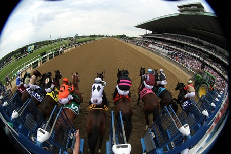 The start of the 128th Running of The Brooklyn Invitational at Belmont Park on June 11, 2016.