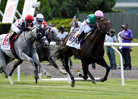 Flintshire with jockey Javier Castellano up wins the115th running of The Woodford Reserve Manhattan.