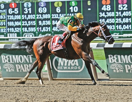 Palace Malice with John Velazquez wins the Metropolitan Belmont Stakes day on June 7, 2014, at Belmont Park in Elmont, N.Y. 8-JustAGame1 image Photo by Anne M. Eberhardt