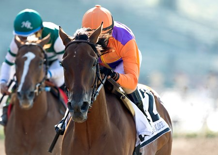Spendthrift Farm's Beholder and jockey Gary Stevens win the Grade I, $400,000 Vanity Mile, Saturday, June 4, 2016 at Santa Anita Park, Arcadia CA.