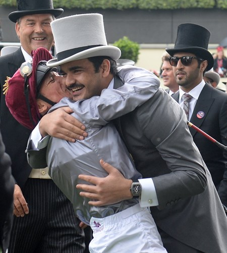 Frankie Dettori and Sheikh Jooan at Royal Ascot June 14, 2016.