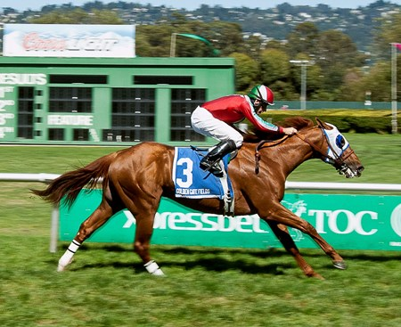 G.G. Ryder, ridden by Russell Baze, wins the $75,000 Alcatraz Stakes in a time of 1:36.98 for the one-mile turf race on May 11, 2014.
