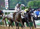 Destin (inside) lost Belmont Stakes by a nose to Creator