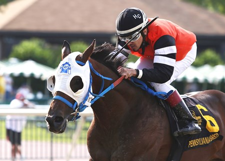 Roxbury N Overton #6 with Hector Caballero riding won the $100,000 Lyman Stakes at Parx Racing in Bensalem, Pennsylvania on June 4, 2016.