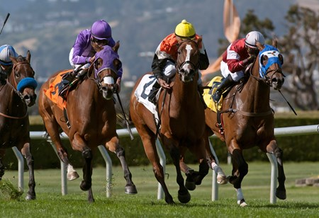 Russell Baze guides Central Heat to victory in the Golden Poppy Stakes at Golden Gate Fields May 14, 2015.